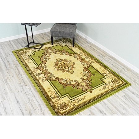 GLAMOUR 3D Hand Carved Traditional Rug Oriental Floral 4'x5'3'' Green Beige ()