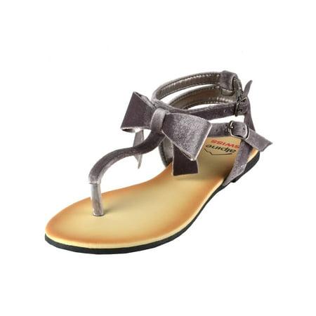 Alpine Swiss Womens Velvet Bow Sandals T-Strap Thong Gladiator Slingback