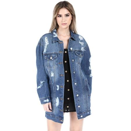 The Blue Jean Women's Destroyed Boyfriend Over Sized Denim Jacket