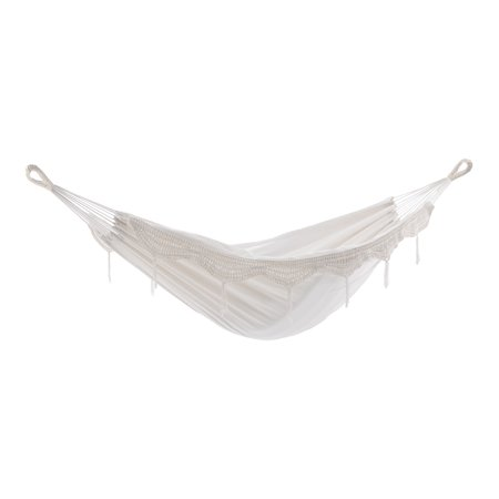 """144"""" White Two Person Brazilian Style Hammock with Laced Fringe ()"""