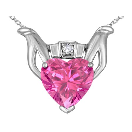 Star K Claddagh Love Pendant Necklace With 8Mm Heart Created Pink Sapphire In 14 Kt White Gold