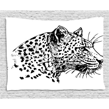 Sketchy Tapestry  Hand Drawn Jaguar Profile Wildlife Jungle Animal African Safari Theme Artwork  Wall Hanging For Bedroom Living Room Dorm Decor  80W X 60L Inches  Black White  By Ambesonne