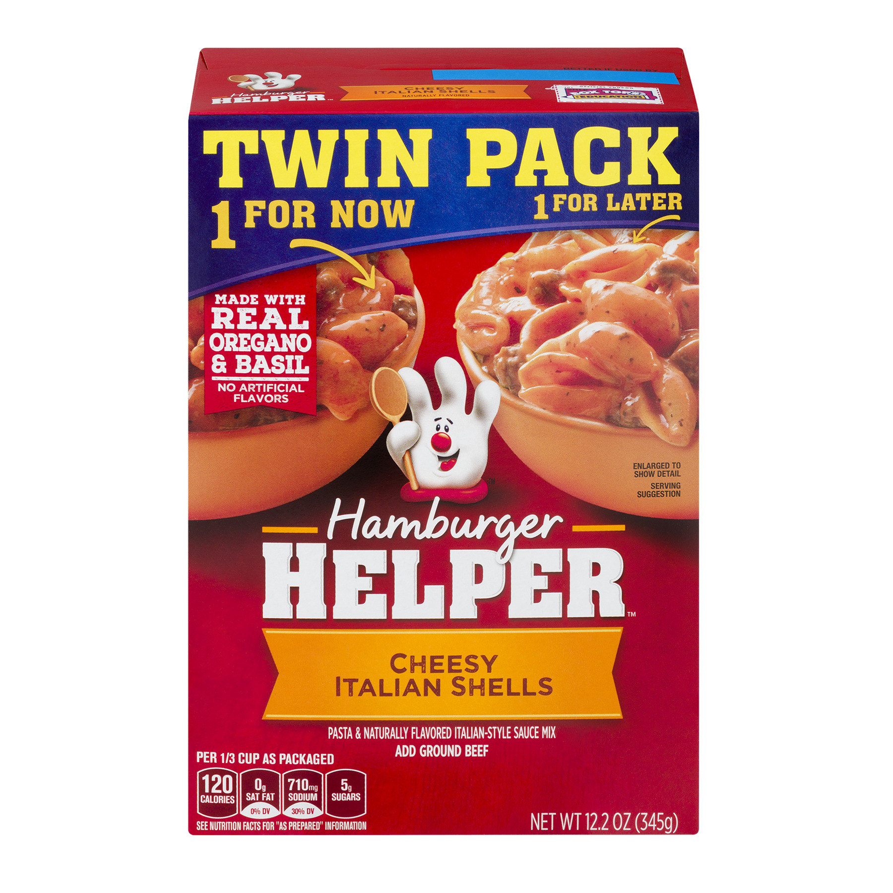 Betty Crocker® Hamburger Helper Cheesy Italian Shells 2 - 12.2 oz Box, 12.2 OZ