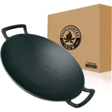 Backcountry Iron's Cast Iron Wok for Stir Frys and Sautees (14 Inch Large, Pre-Seasoned for Non-Stick Like Surface, Cookware Oven/Broiler/Grill Safe, Kitchen Deep Fryer, Restaurant Chef