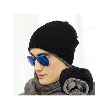 Fashion Beanie Men Winter Warm Faux Fur Lined Baggy Hat Ski Skull Hip-Hop Cap - Mets Winter Hat
