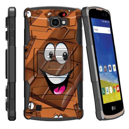 LG K4 L44VL, LG Optimus Zone 3, LG Spree K120, LG Rebel VS425 Miniturtle® Clip Armor Dual Layer Case Rugged Exterior with Built in Kickstand + Holster - Chocolate Bar](Ninja Couple)