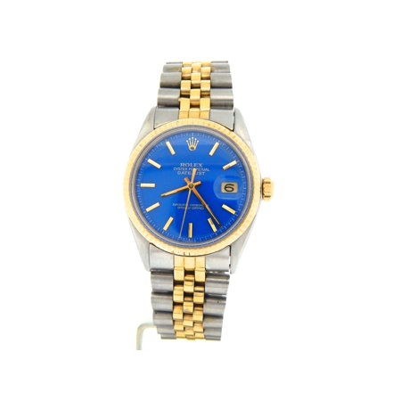 Pre-Owned Mens Rolex Two-Tone 14K/SS Datejust Blue 1601 (SKU 3120902MT)