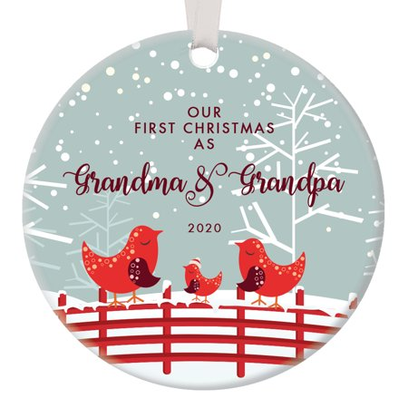 Our First Christmas as Grandma & Grandpa, 1st Xmas Ornament for New Grandparents, Bird Family Nana Pop-Pop Baby Newborn Pretty Circle Ceramic 3