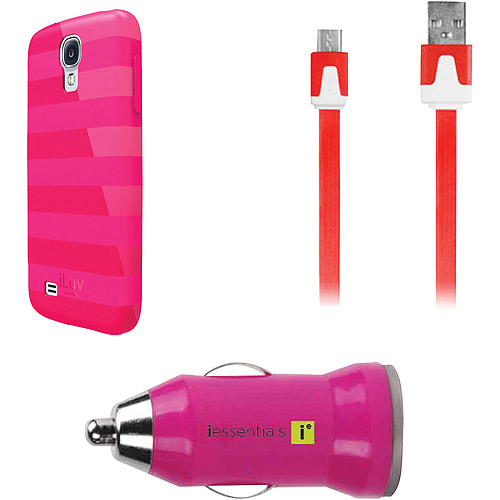 iLuv Gelato Case for Samsung Galaxy S4 with iEssentials Cable and Car Charger, Pink