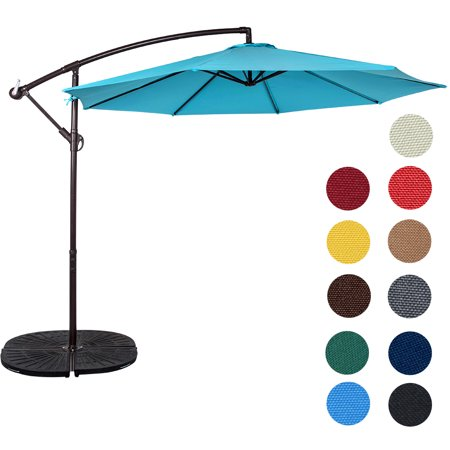Sundale Outdoor 10 Feet Aluminum Offset Patio Umbrella with Crank, 8 Steel Ribs ()