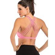 Womens High Impact Sports Bras Criss Cross Back Sexy Running Bra Workout Running Crop Tops Longline Yoga Bra