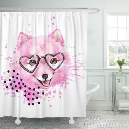 SUTTOM Cute Dog Watercolor Illustration for Fashion Print Poster Textiles Design Shower Curtain 66x72 inch Hmong Textile Design