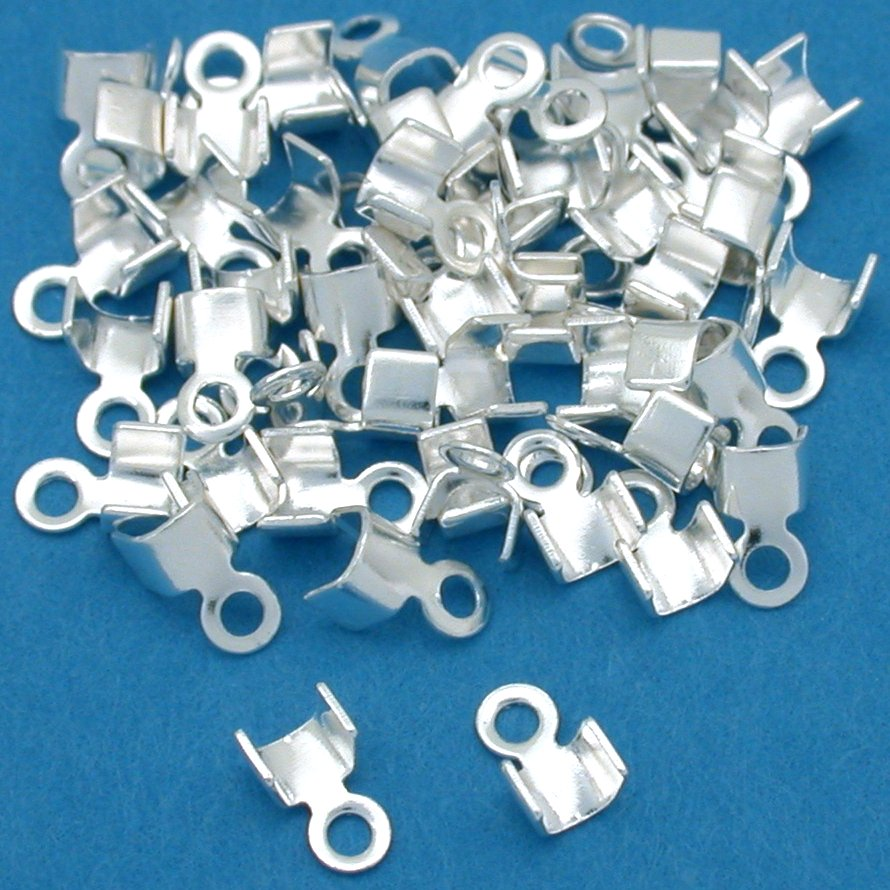 50 Silver Plated Cord Ends Foldover For Leather 3mm