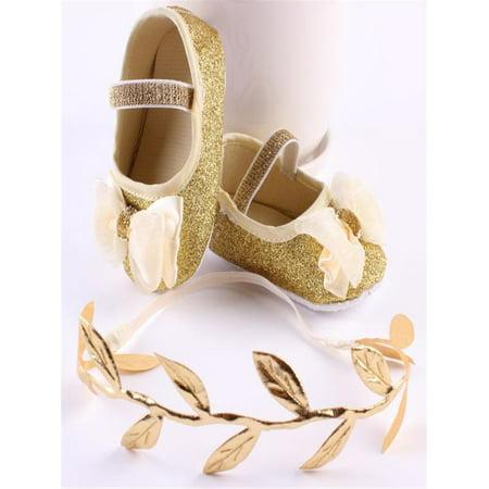 Baby Girl Flower Shoes Sneaker Anti-slip Hand Soft Toddler Shoes+1pc Hairband (Flower Speaker)
