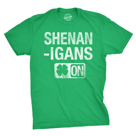 Mens Shenanigans Mode On Funny Irish Lucky Clover T (Lucky Bowling Shirt)