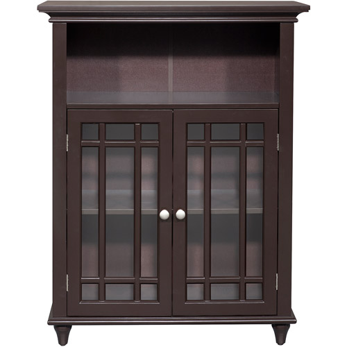 Elegant Home Fashions Heritage Double Door Floor Cabinet, Dark Espresso