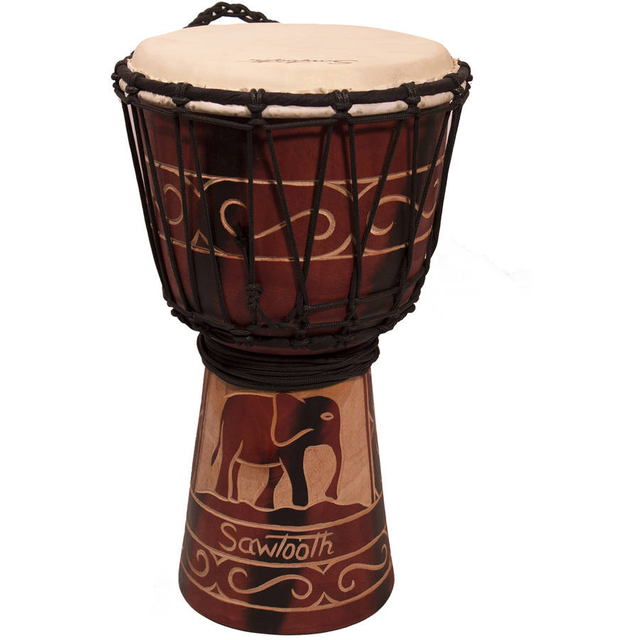 "Sawtooth Harmony Series 8"" Hand-Carved Elephant Design Rope Djembe"
