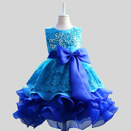 Kacakid Lovely Kids Girls Flower Bowknot Sequins Dress Princess Tutu Party Dress Skirt Costume Hot - Girls Party Dresses