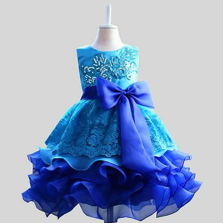 Kacakid Lovely Kids Girls Flower Bowknot Sequins Dress Princess Tutu Party Dress Skirt Costume Hot