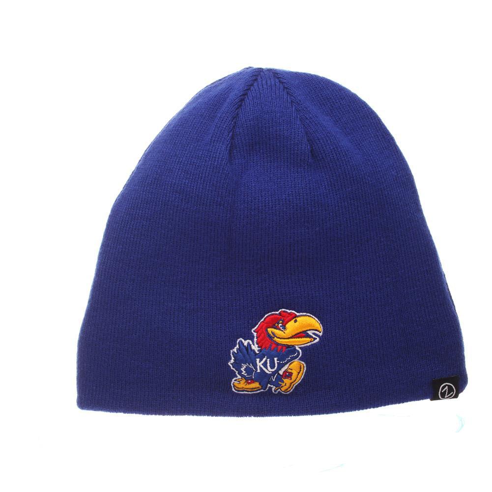 Reversible Kansas Jayhawks KU Beanie Hat Knit Toboggan