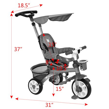Gymax Red Kids Baby Stroller Tricycle 4-In-1 Detachable Learning Toy Bike w/ Canopy Basket - image 4 of 8