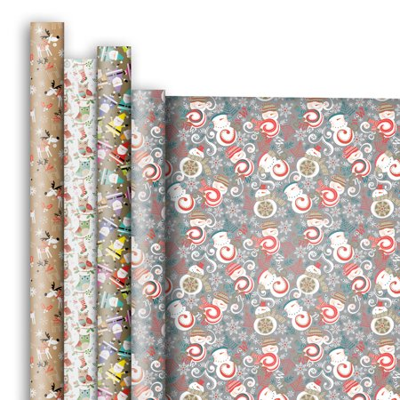 jillson roberts premium gift wrap jumbo roll assortment christmas designs 4 rolls - Walmart Christmas Wrapping Paper