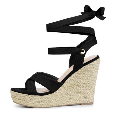 Allegra K Sandales compensées à lacets et espadrilles pour femmes Noir 40.5 EU - image 1 de 7
