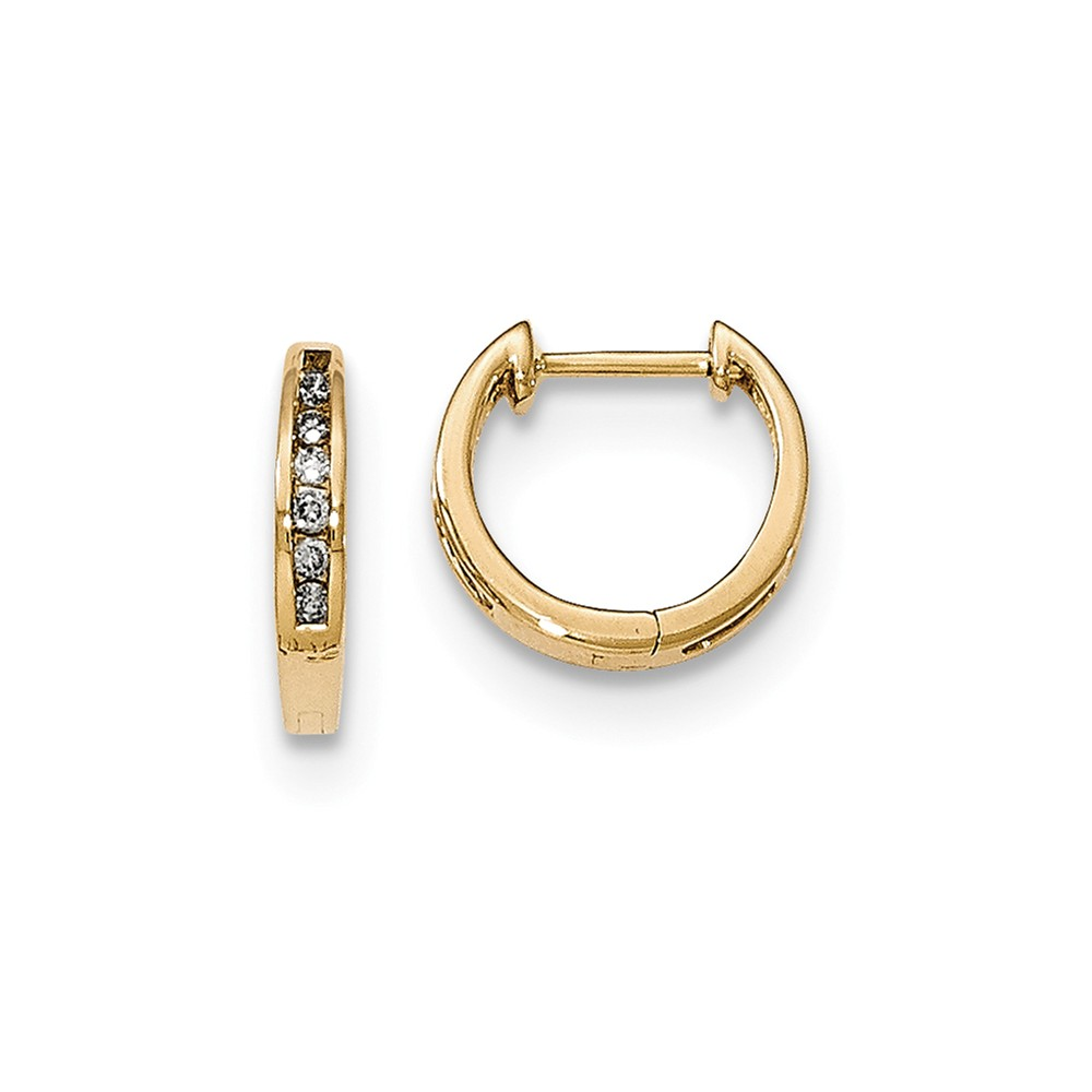 14K Yellow Gold (0.12cttw) Gold Polished Diamond Hinged Hoop Earrings (13mm x 13mm)
