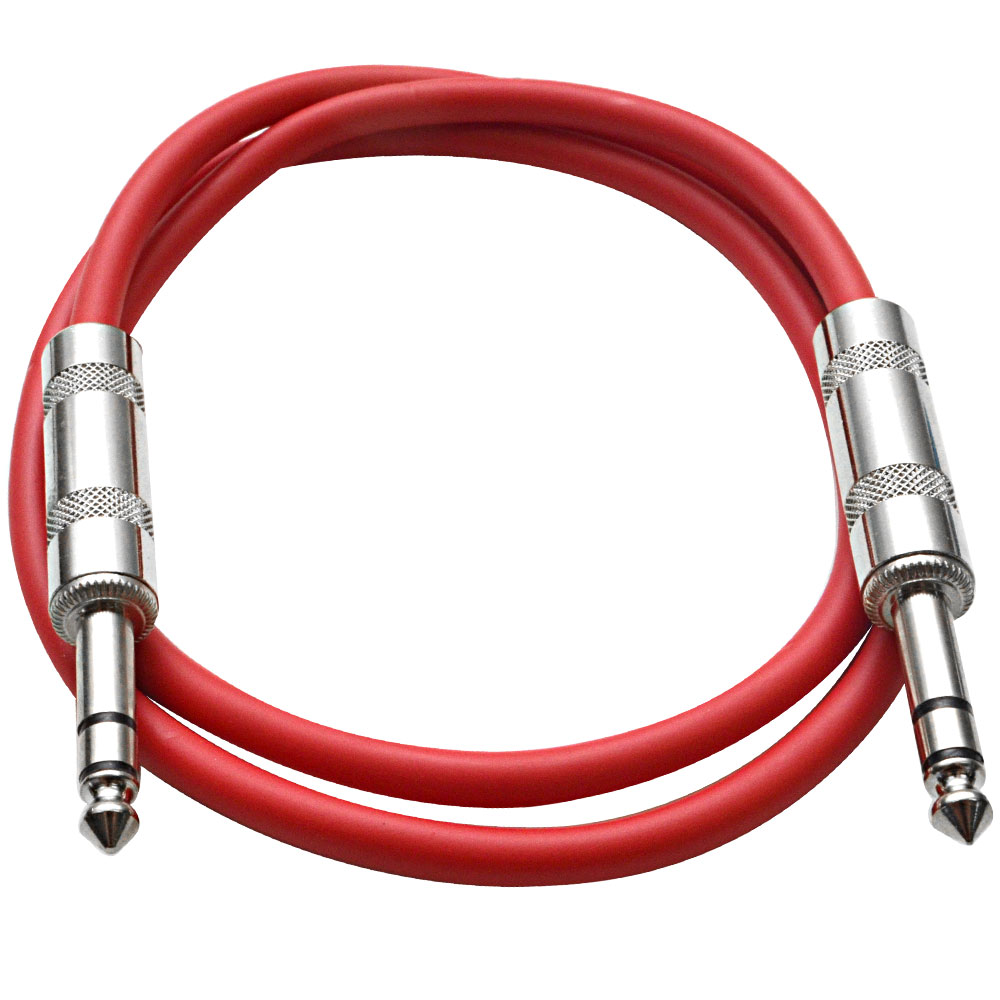 """Seismic Audio  - Red 1/4"""" TRS 2' Patch Cable - Effects Red - SATRX-2Red"""