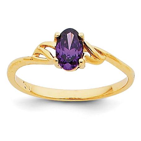 14K Yellow Gold Amethyst Birthstone Ring - image 2 de 2