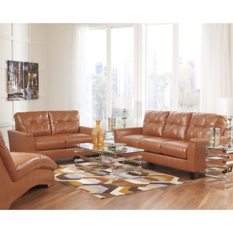 Ashley Paulie 3 Piece Leather Sofa Set With Chaise Lounge In Orange