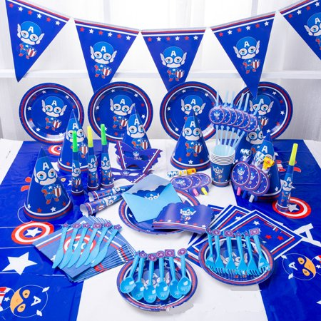 Holiday Party Themes (16 Pcs Set American Captain Cartoon Tableware and Serveware for Theme Birthday Party Holiday)