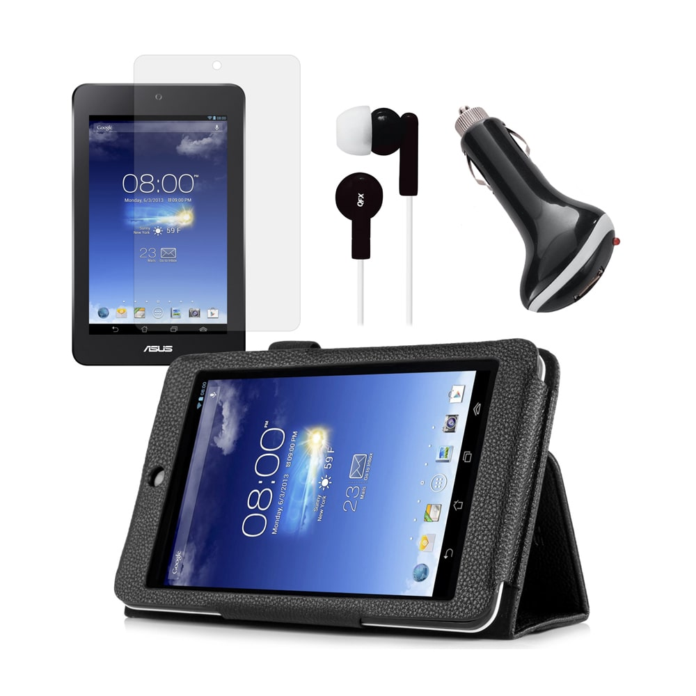 Black Folio Case with Screen Protector, Earphones, and Car Charger for ASUS MeMO Pad HD 7