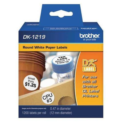 BROTHER DK1219 Round Labels,0.47 Dia,1200/Roll