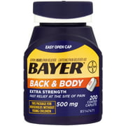 Bayer Back & Body Extra Strength Aspirin/Pain Reliever Coated Caplets 200 ea (Pack of 3)