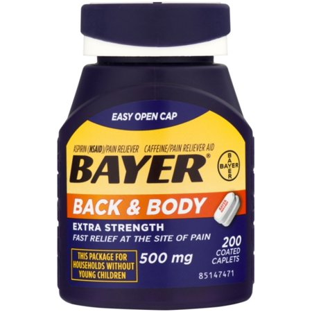 Bayer Back & Body Extra Strength Aspirin/Pain Reliever Coated Caplets 200 ea (Pack of 4)