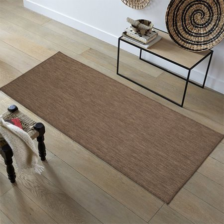 Ottomanson Jardin Collection Natural Solid Design Indoor/Outdoor Jute Backing Synthetic Sisal Area Rugs and Runners