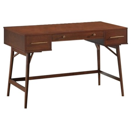 Pemberly Row 3 Drawer Writing Desk In Walnut And Bronze