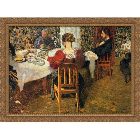 The End of Breakfast at Madam Vuillard 38x28 Large Gold Ornate Wood Framed Canvas Art by Edouard Vuillard ()