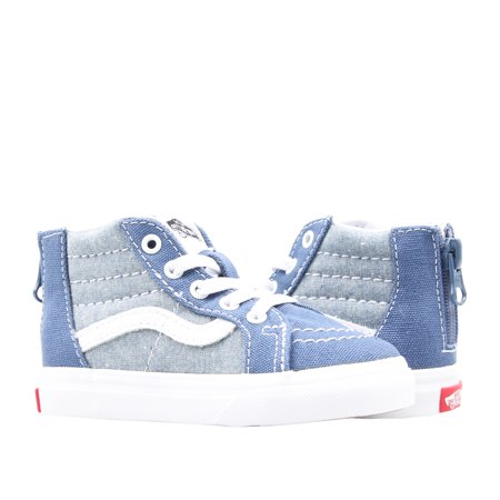 Vans Sk8-Hi Zip Chambray True Navy Toddler Kids High Top Sneakers VN0A32R3VIO (Vans Sk8 Hi Zip)