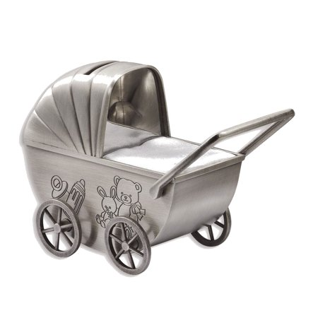 Baby Carriage Engraving Plate Metal Bank - Engravable Personalized Gift (Personalized Baby Bank)