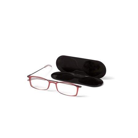 ThinOptics Brooklyn Reading Glasses + Milano Anodized Aluminum, Magnetic case   Rectangular red Frames, 2.50 Strength