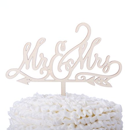 Mr and Mrs Wooden Wedding Cake Topper, Rustic Wood Arrow Reception Decoration Toppers (Mr & Mrs - Mrs Cake