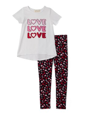 "Btween Girls' 4-16 Valentine's Day ""Love"" Graphic Tee and Heart Print Leggings, 2-Piece Outfit Set (Little Girls & Big Girls)"