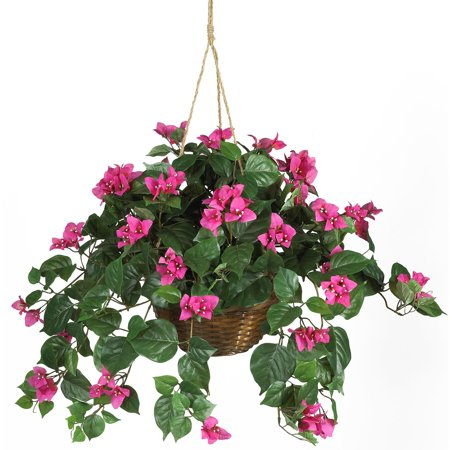 Silk Jungle Plants (Nearly Natural Artificial Bougainvillea Hanging Basket Silk Plant )