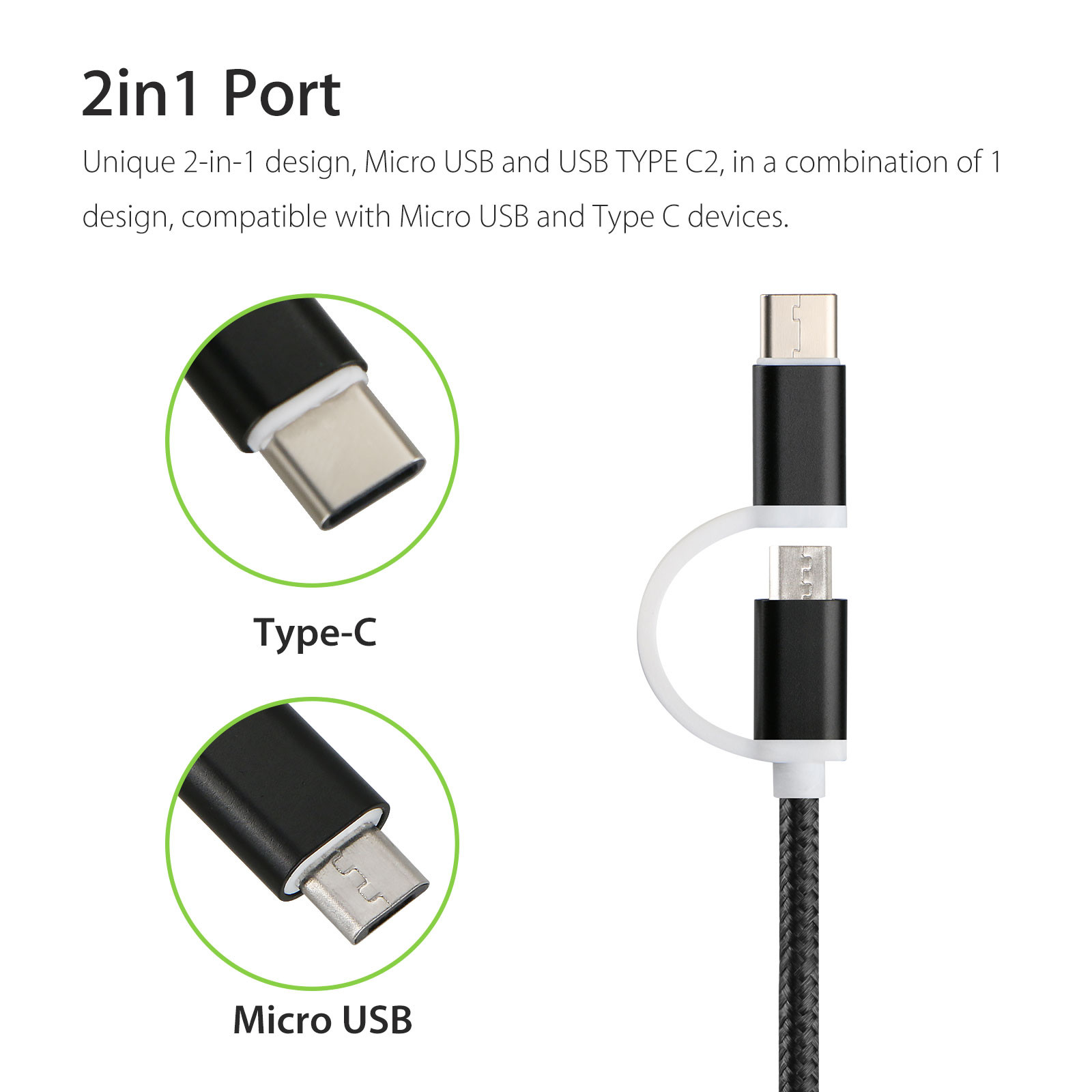 2in1 Micro USB & USB C Type C Braided Charging Cable Cord