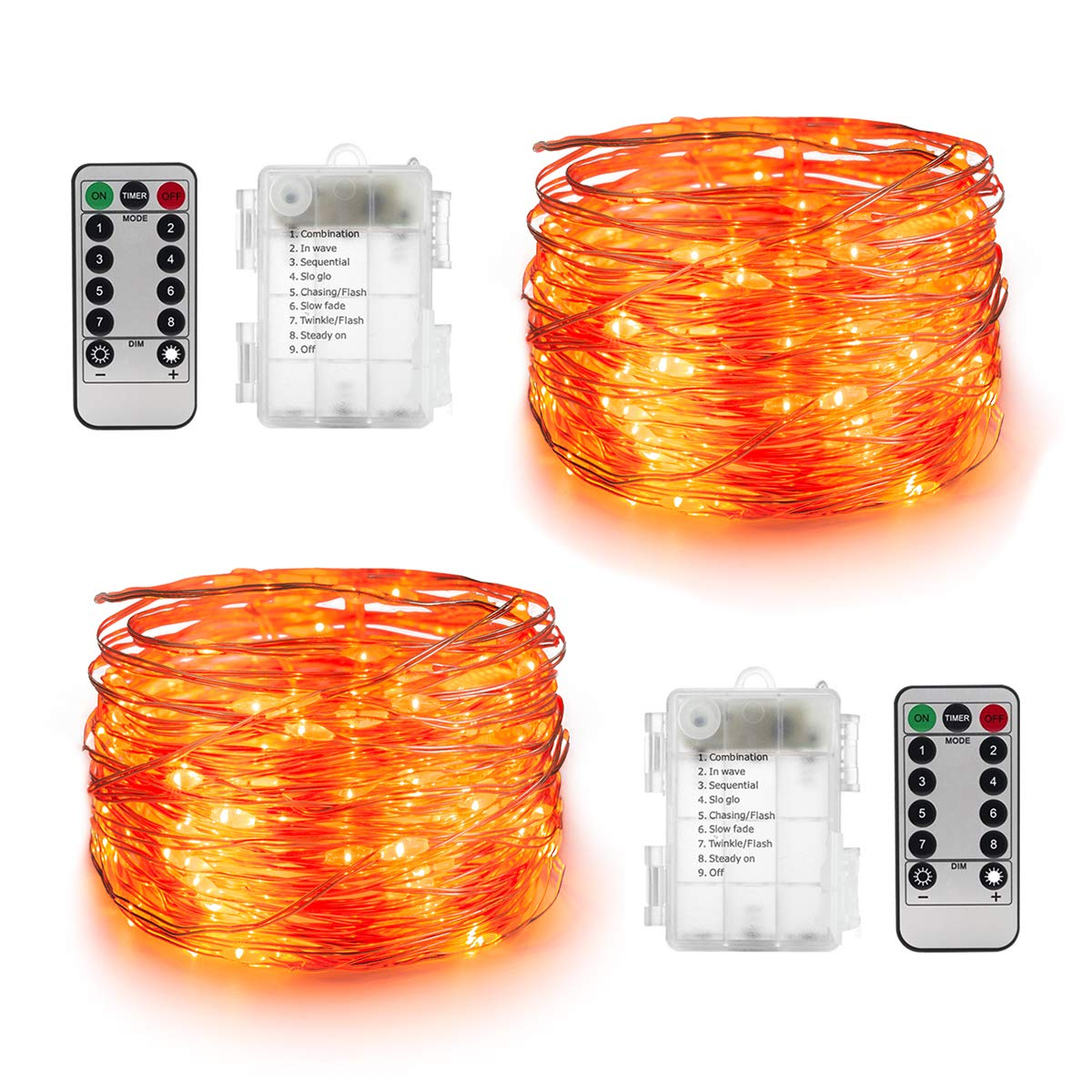 Battery Operated Orange Fairy Lights for Halloween Decorations Toodour Halloween Orange Lights 100 LED Orange String Lights