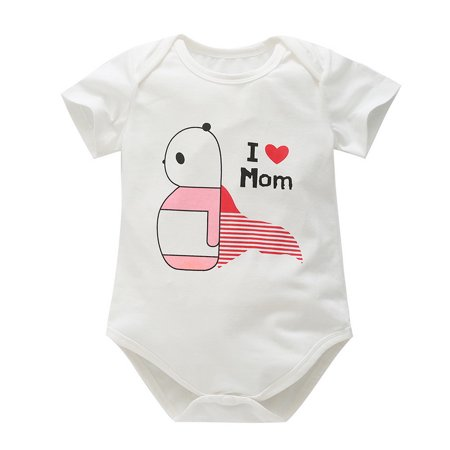 I Love Mom Dad Baby Girls Cotton Super Soft Short Sleeves Onesies