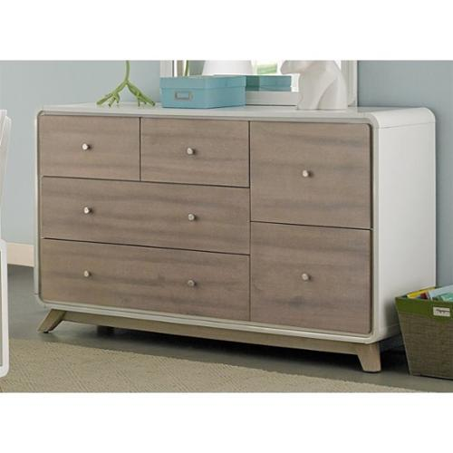 NE Kids East End 6 Drawer Dresser in White and Taupe