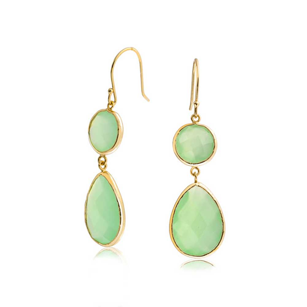 Bling Jewelry Gold Plated Sterling Silver Green Simulated Chalcedony Dangle Earrings by Bling Jewelry
